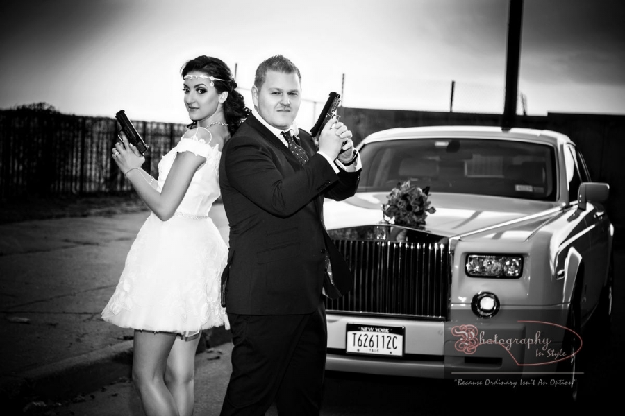 Bonnie And Clyde Wedding Theme Photography In Style